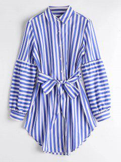 Lantern Sleeve Belted Stripes Shirt - Stripe L