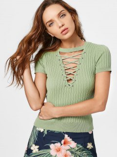 Ribbed Knit Lace Up Top - Green M