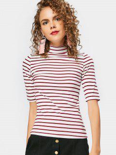 Camiseta Rayada De Cuello Alto - Rojo Oscuro S