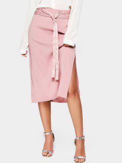 Side Slit Belted A Line Midi Skirt - Pink L