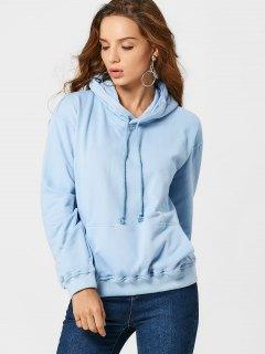Kangaroo Pocket Drawstring Hoodie - Light Blue L