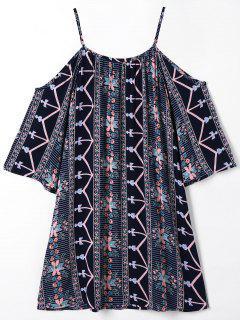 Floral Cold Shoulder Bohemian Printed Blouse - Black 2xl