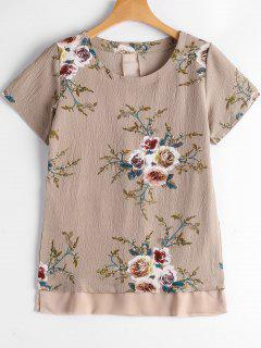 Floral Print Patchwork Blouse - Yellowish Pink S