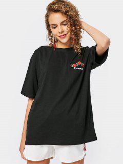 Camiseta Floral Remendada Del Hombro De La Gota - Negro Xl