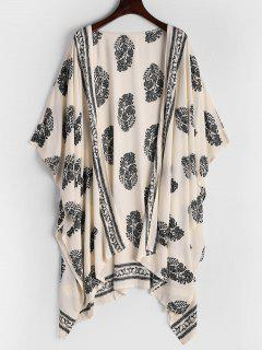 Leaves Print Asymmetric Longline Blouse - Black L
