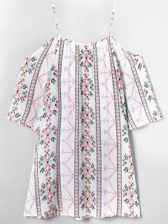 Floral Cold Shoulder Bohemian Printed Blouse - Off-white M