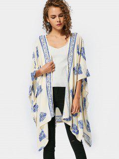 Asymmetrische Lange Bluse Mit Blätter Druck  - Blau M