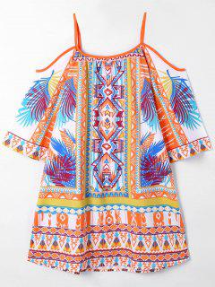 Hawaii Print Open Shoulder Blouse - 2xl