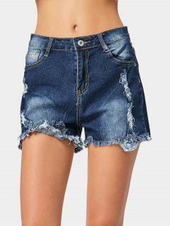 Ripped Frayed Hem Denim Shorts - Deep Blue 2xl