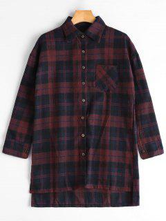 Plaid High Low Longline Shirt - Blue And Red L