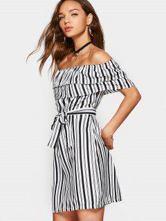 Overlap Stripes Off Shoulder Mini Dress - Stripe M