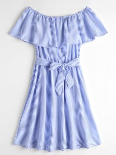 Overlay Off Shoulder Striped Belted Dress - Blue And White Xl