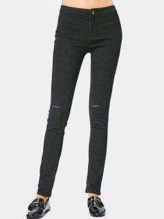 Pantalon Slim Taille Haute Déchiré - Noir L