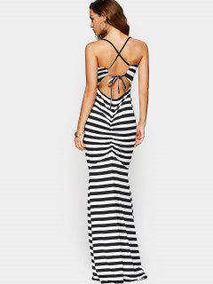 Criss Cross Cut Out Maxi Dress - Rayure S