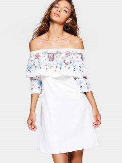Superposición Floral De Hombro Mini Vestido - Blanco S