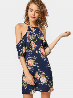 Vestido De Camuflaje Con Estampado Floral De Hombro Frío - Floral S