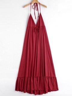 Robe Longue Volantée à Col Halter - Rouge M