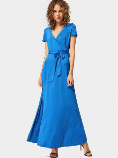 Plunging Neck Belted Maxi Dress - Blue M