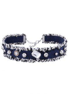 Faux Crystal Flower Denim Choker - Purplish Blue