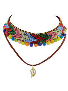 Colorful Pom Pom Weaving Choker