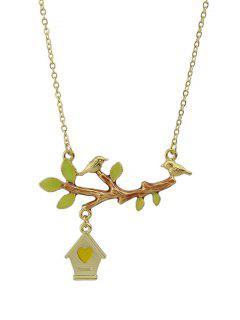 Bird Branch Love House Necklace - Golden