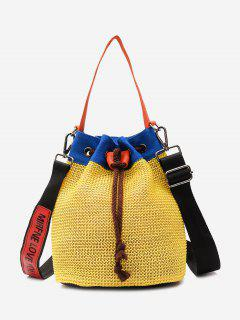 Color Block Weave Drawstring Bucket Bag - Yellow