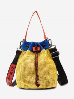 Color Block Weave Cordón Bolsa De Cubo - Amarillo