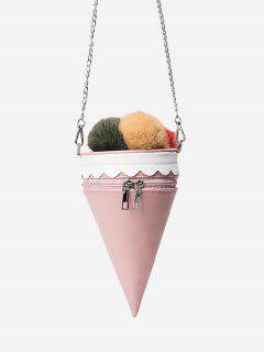 Pompon Ice Cream Shaped Crossbody Bag - Pink