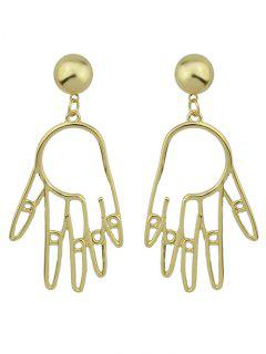 Metal Hand Ball Funny Earrings - Golden