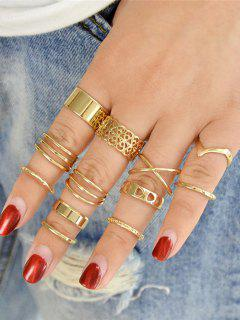 Alloy Cuff Geometric Finger Ring Set - Golden