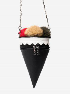 Pompon Ice Cream Shaped Crossbody Bag - Black