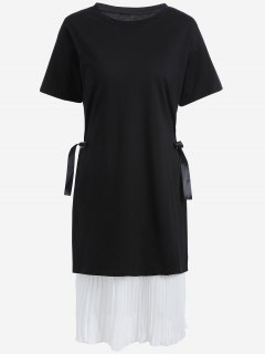 Plus Size Pleated Cami Dress With Outer Dress - White And Black 2xl