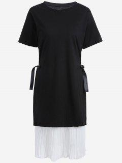 Robe Plissée à Manches Longues Avec Robe Extérieure - Blanc Et Noir 5xl