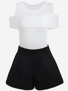 Cold Shoulder Knitwear And Plus Size Shorts - White And Black 2xl