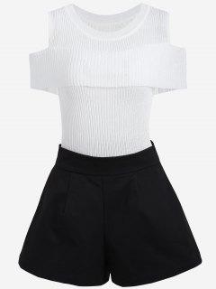 Ropa De Punto De Hombro Frío Y Pantalones Cortos De Talla Grande - Blanco Y Negro 5xl