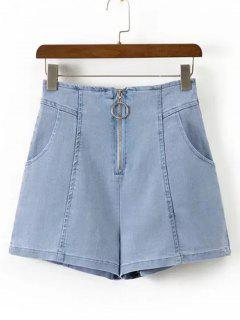 High Waisted Zip Up Denim Shorts - Denim Blue L