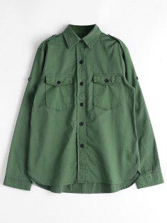 Button Down Shirt With Flap Pockets - Army Green L