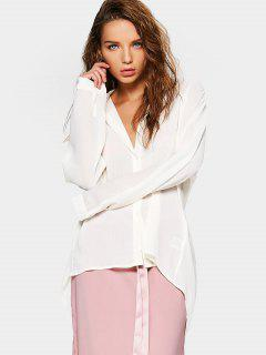 Button Down Loose High Low Shirt - Off-white S