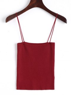 Knitting Cami Ribbed Tank Top - Red S