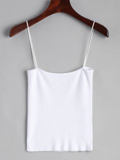 Knitting Cami Ribbed Tank Top - White S