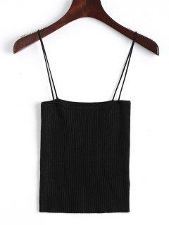 Knitting Cami Ribbed Tank Top - Black S