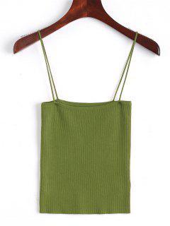 Knitting Cami Ribbed Tank Top - Army Green S