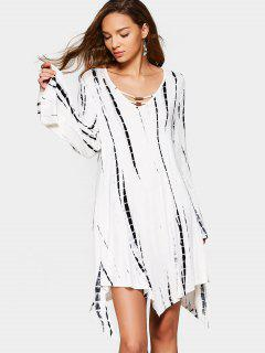 Long Sleeve Tied Dyed Asymmetrical Dress - White And Black M