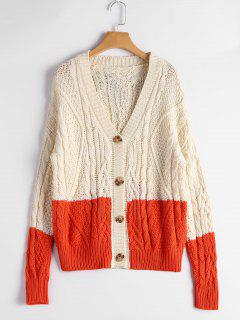 Button Up Contrast Cable Knit Cardigan - Beige