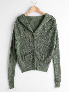 Button Up Pockets Ripped Cardigan - Army Green