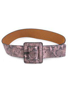 Snakeskin Design Rectangle Pin Buckle Belt - Khaki