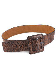Snakeskin Design Rectangle Pin Buckle Belt - Brown