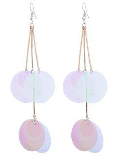Gradient Color Round Piece Drop Earrings - Transparent