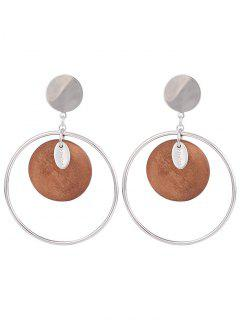 Metal Circle Round Piece Drop Earrings - Spice