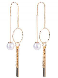 Faux Pearl Metal Circle Stick Drop Earrings - Golden